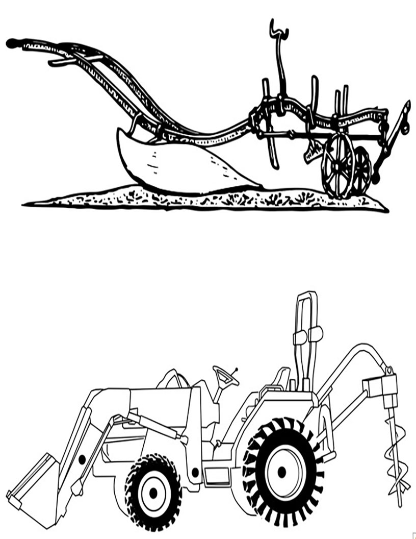 plow and tractor
