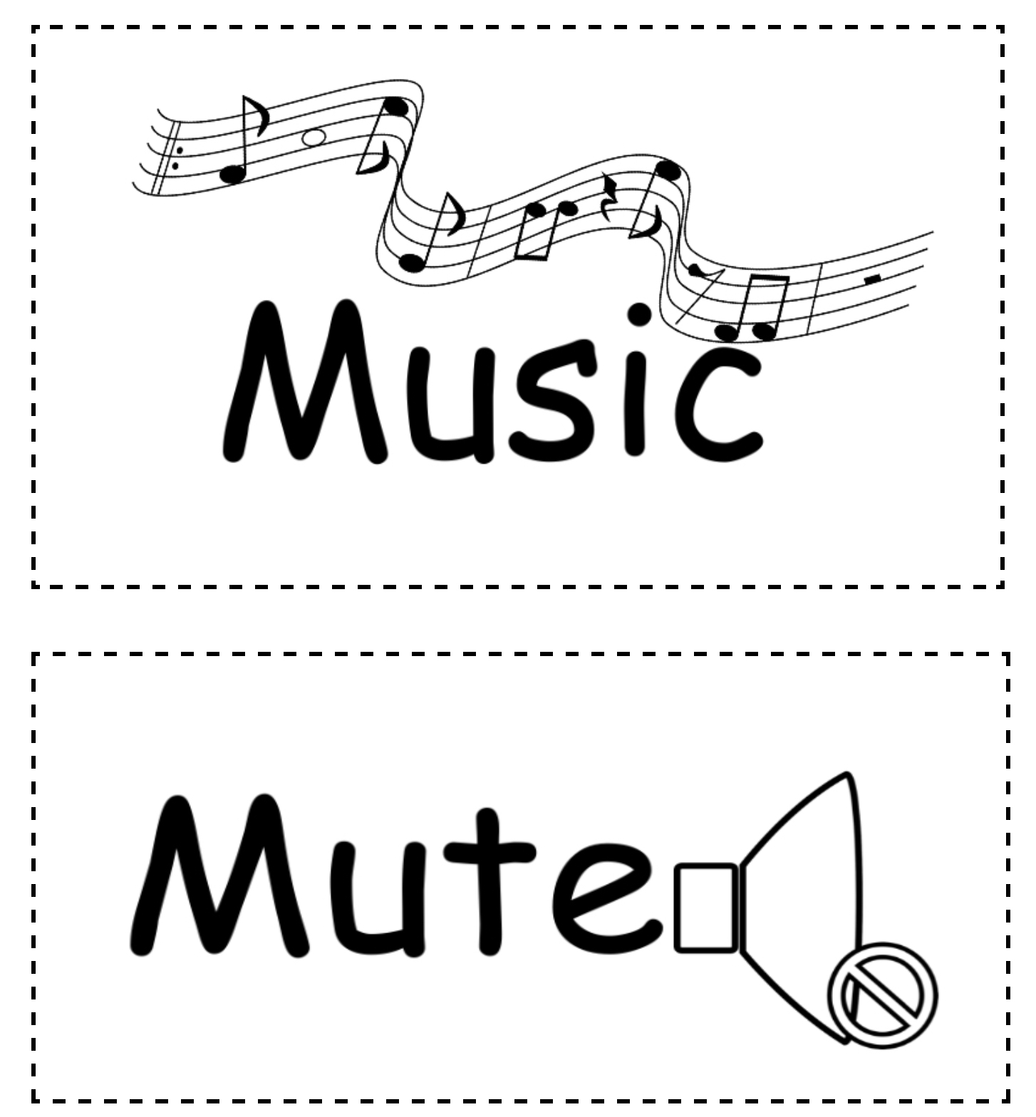 Music and Mute signs